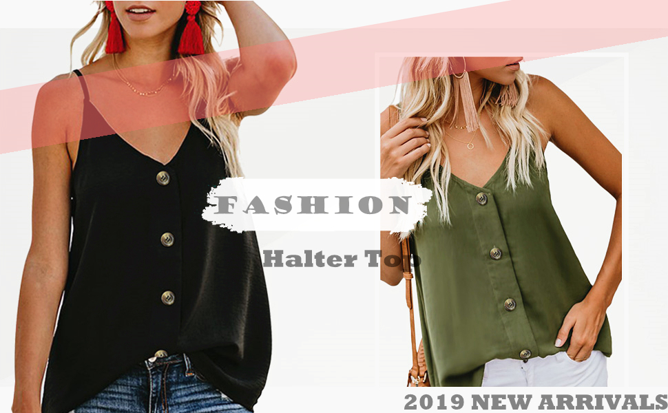 Womens Sleeveless Work T-Shirt Casual Vest Tops Striped Buttons V-Neck Tank Top