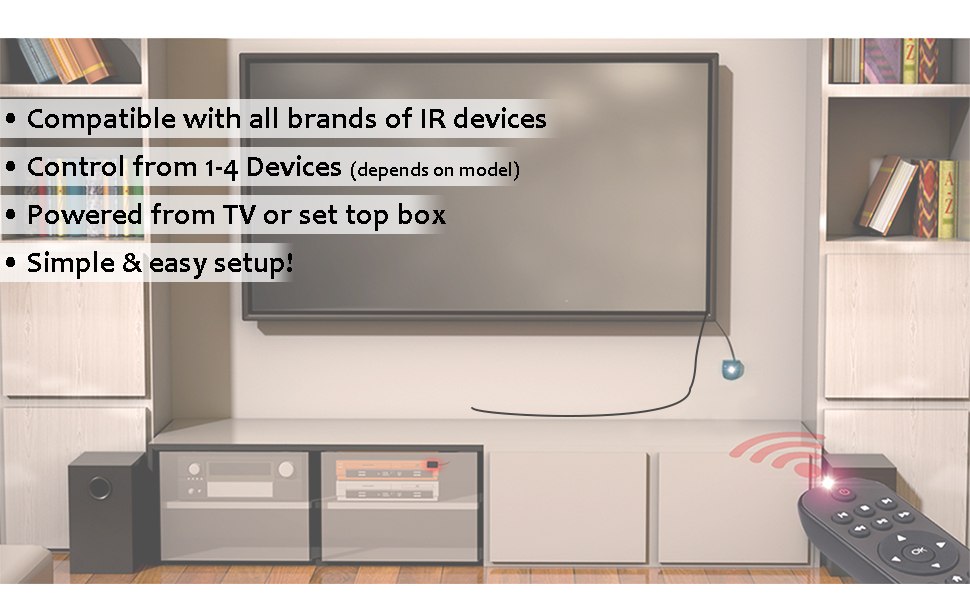 Entertainment system showing remote control pointed at IR repeater kit controlling device in cabinet