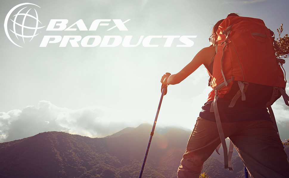 BAFX Products logo with women hiking on mountain using hiking poles with backpack