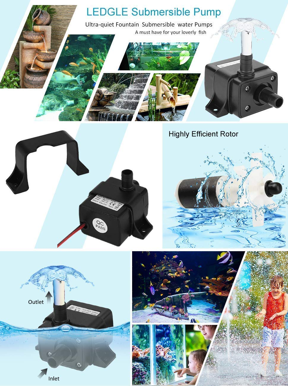 LEDGLE Submersible Pump Mini Electric Brushless Fountain Water Pumps  Ultra-Quiet, IP68 Waterproof, Dual-Purpose Design for Fish Tank,  Hydroponics,