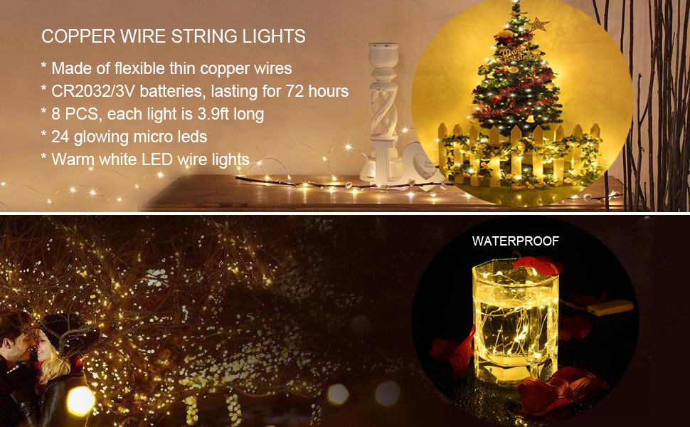 Ledgle Led Starry String Lights Copper Wire 24 Leds Mood Lights 3 9ft Waterproof Starry Fairy Lights For Party Wedding Holiday Decoration Battery