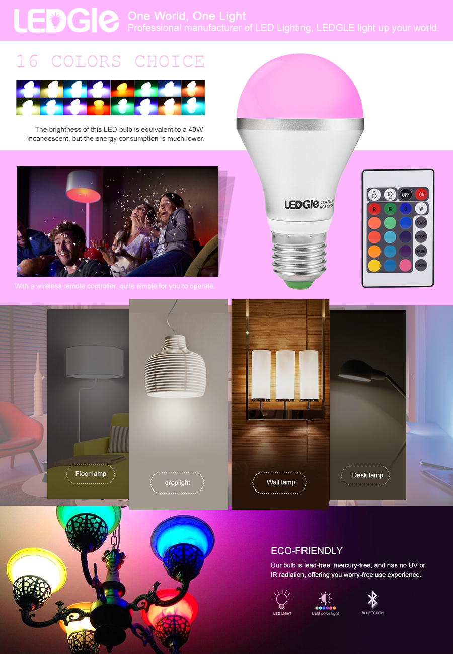 Ledgle Led Light Bulb A19 Dimmable E26 Remote Control Rgb Create Secondary Colors From Multicolored Leds Edn Product Description