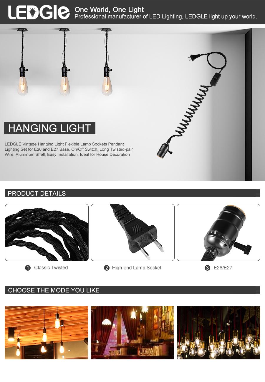 Ledgle Vintage Hanging Light Flexible Lamp Sockets Pendant Lighting Wiring Up A Socket One World
