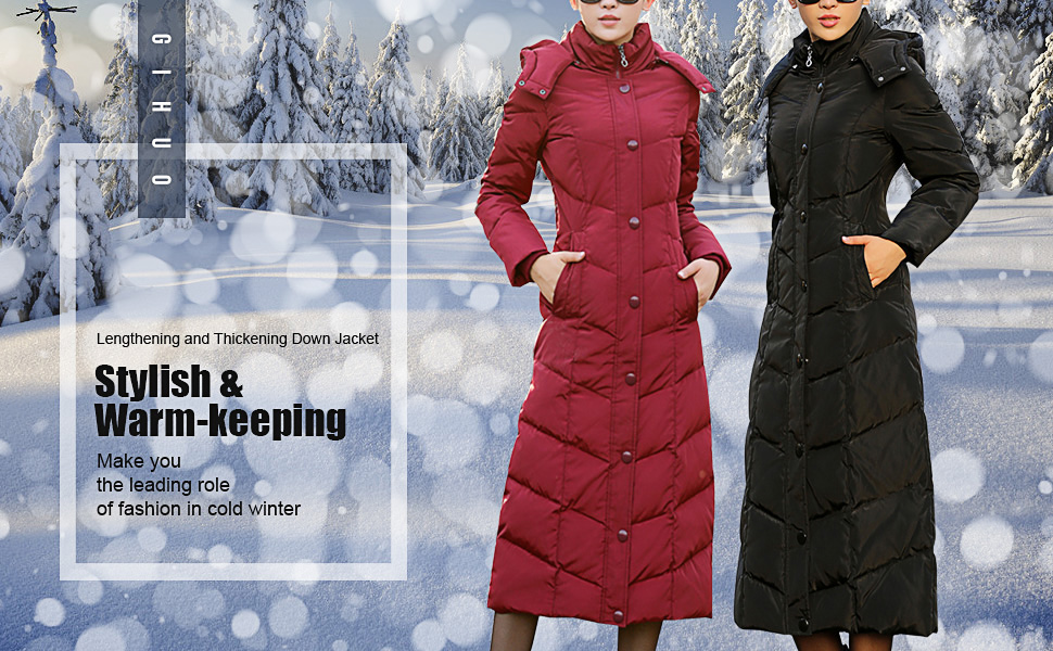 Womens Quilted Maxi Puffer Coat Winter Padded Parka