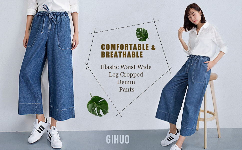 Women/'s Loose High Waist Wide Leg Culottes Fashion Jeans
