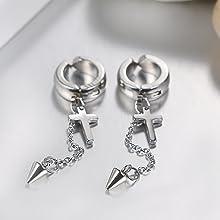 Stud Hinged Hoop Earrings