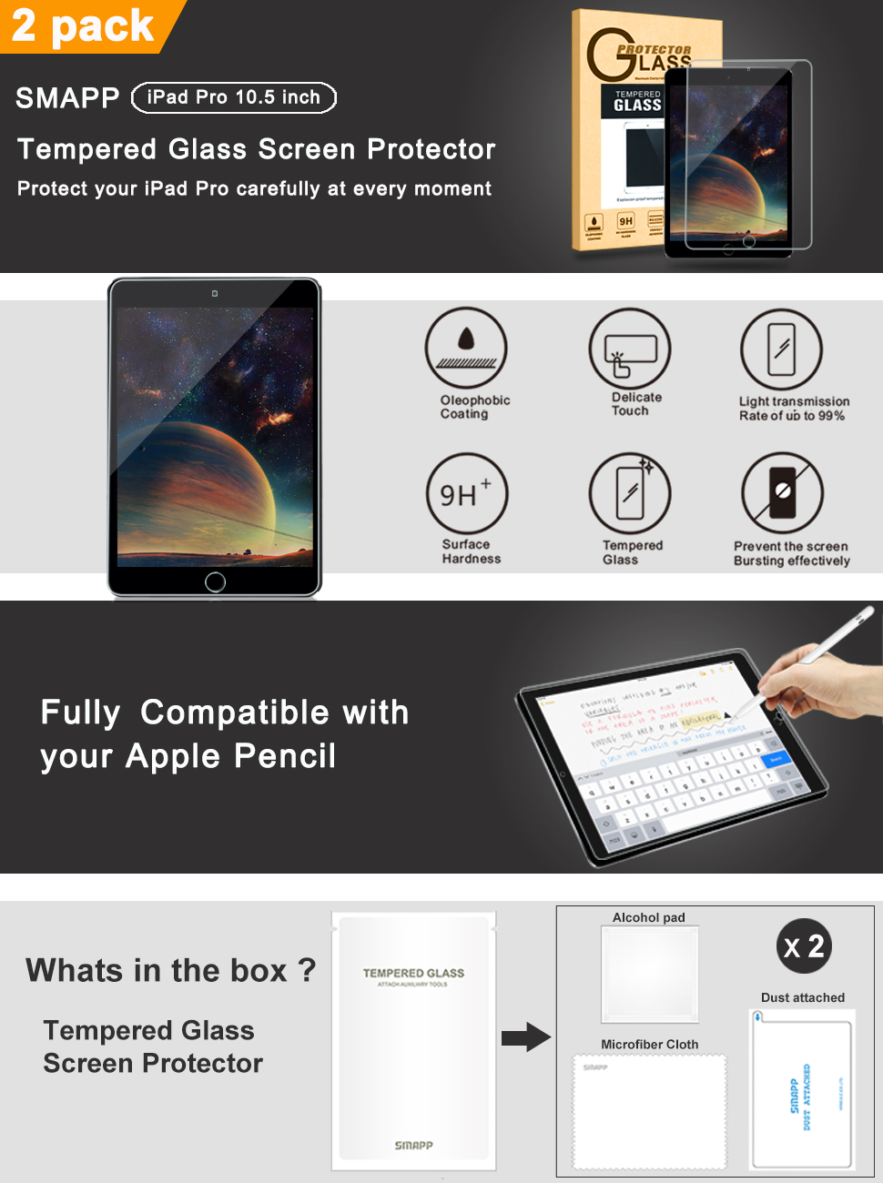 Surface pencil compatible tempered glass screen protector with 2 5d - Premium Tempered Glass Screen Protector Made For Apple Ipad Pro 10 5 Inch