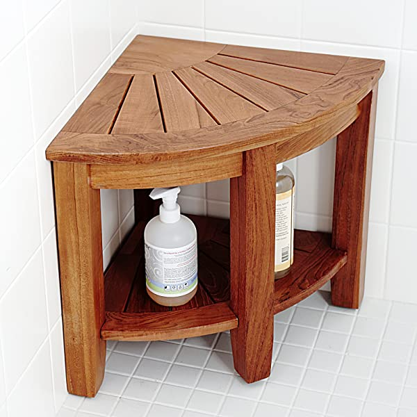 teak shower stool corner our bench tropical wood imported with natural density high oil content naturally folding seat canada nz