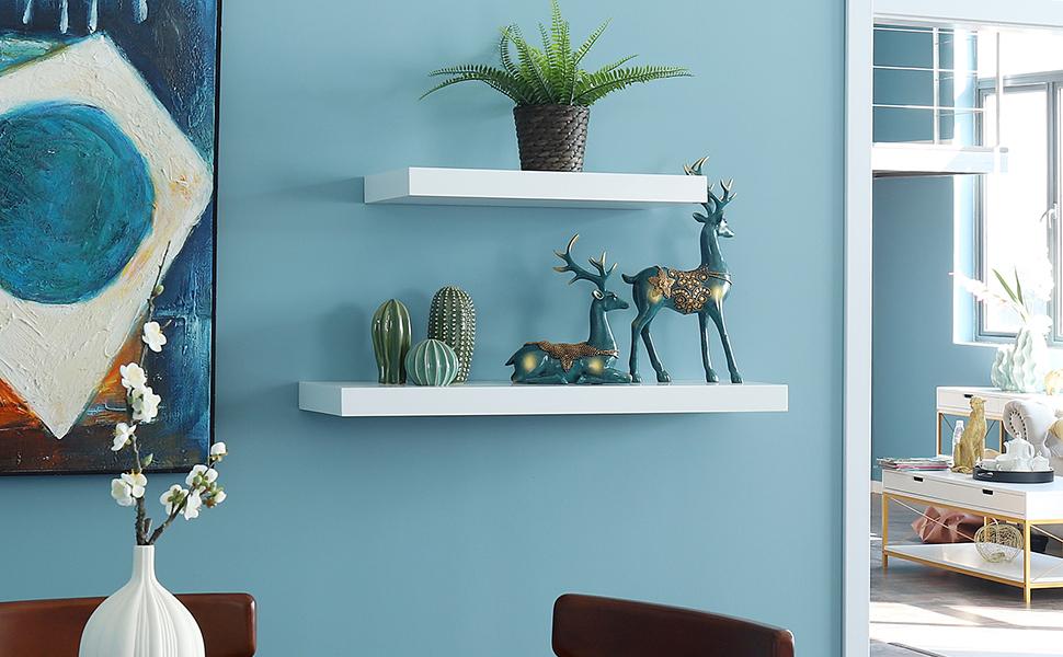 "Chicago Floating Shelves WELLAND 9/"" New White Wall Decor Display Shelf"