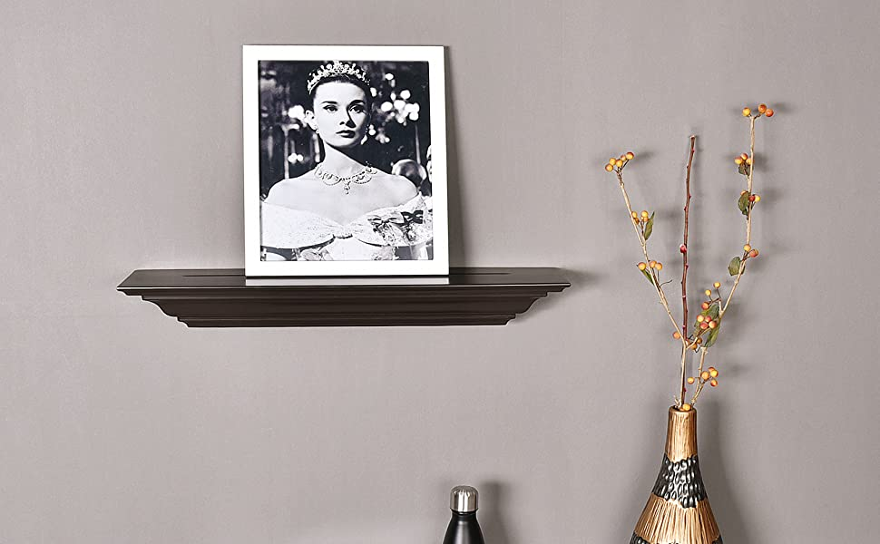 WELLAND Corona Crown Molding Floating Wall Picture Ledge Shelves (18-Inch, Espresso)