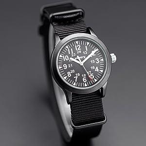 INFANTRY Mens Army Military Field Analog Watch Nylon Quartz Wrist Watches for Men 12/24Hr