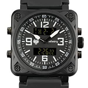 INFANTRY Mens Big Face Dual Display Tactical Military Sport Wrist Watch Multifunction Black Band