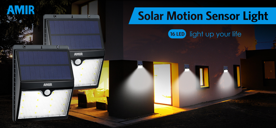 amir 16 led solar energy powered light overcomes many of those old versions auto on at night auto off at sunrise dim light when no motion - Led Motion Sensor Light