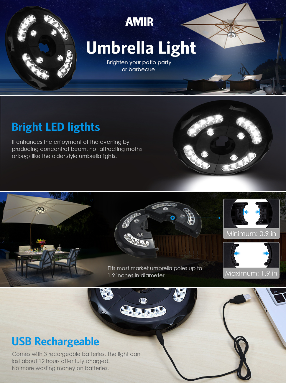 Amir Upgraded Rechargeable 24 LED Patio Umbrella Light With USB Cable And  Adapter