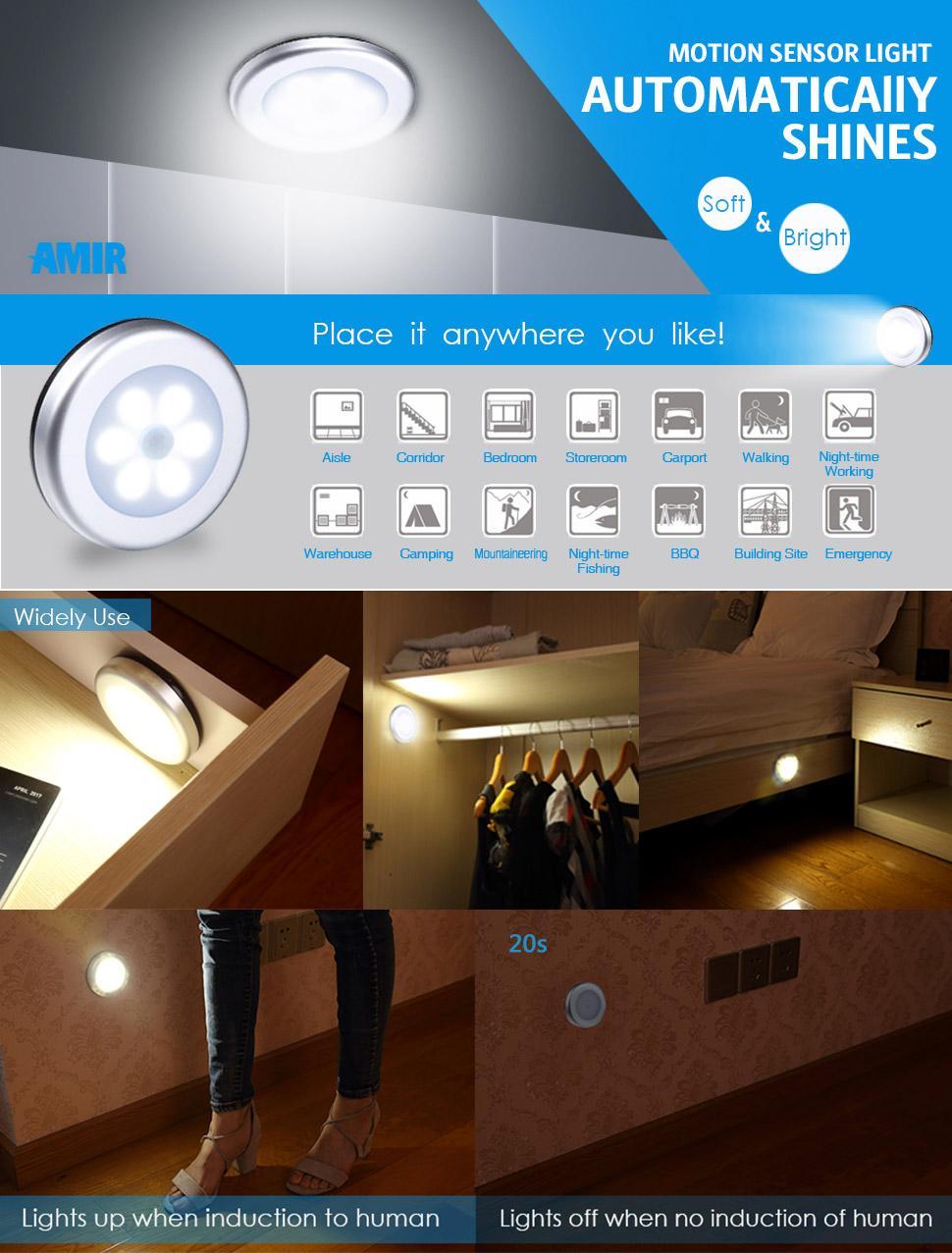 Motion Sensor Light, Cordless Battery Powered LED Night Light,  Stick Anywhere Closet Lights Stair Lights, Safe Lights For Hallway,  Bathroom, Bedroom, ...