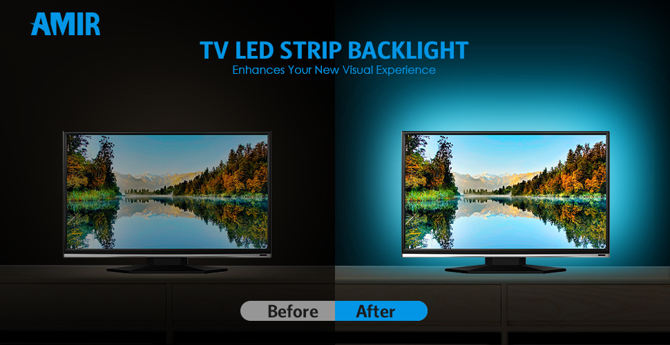 AMIR TV LED Light Strip 30 LED TV Backlight Strip USB Bias Monitor Lighting Changing Color Strip Kit  Accent Light Set  Waterproof Bias Lighting For TV ... & AMIR TV LED Light Strip 30 LED TV Backlight Strip USB Bias Monitor ...