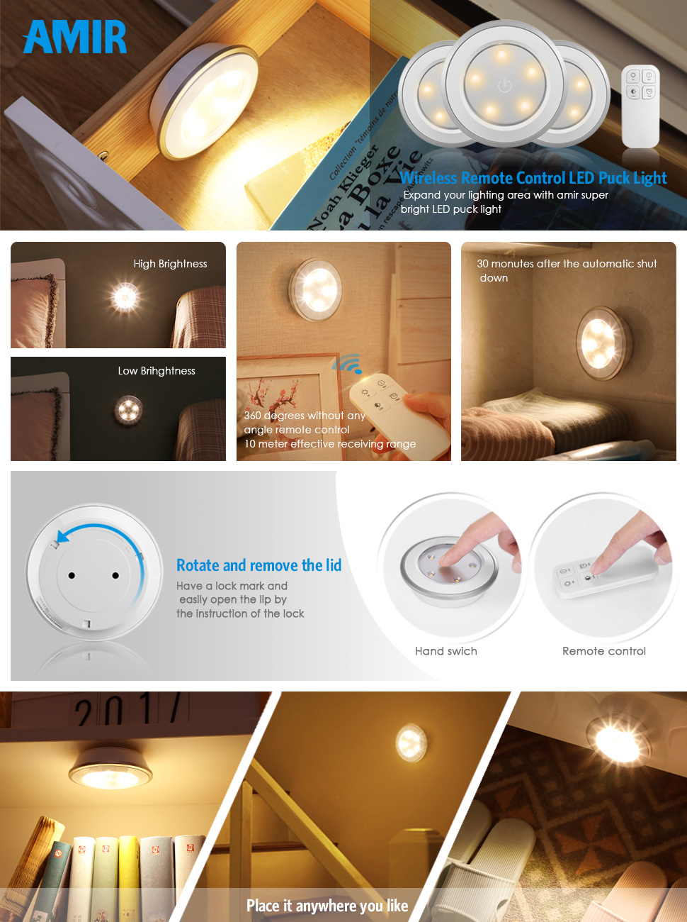 Mother Ideas Wireless Led Lights With Remote Light It White