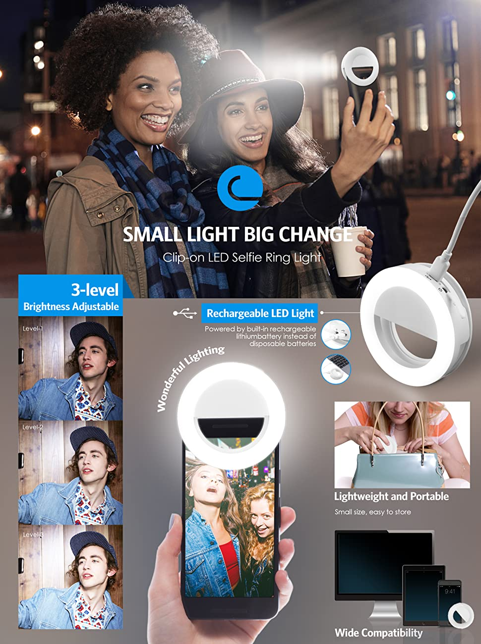 Criacr Selfie Ring Light Clip-on LED Camera Light Rechargeable 33 LED Fill-light 3-Level Adjustable Brightness On-Camera Video Lights Night Light for ...  sc 1 st  Amazon.com & Amazon.com: Criacr Selfie Ring Light Clip-on Phone Selfie Light for ...