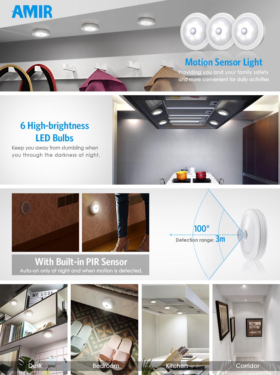 AMIR Motion Sensor Light, 30LM Stick-Anywhere Cordless Battery ...