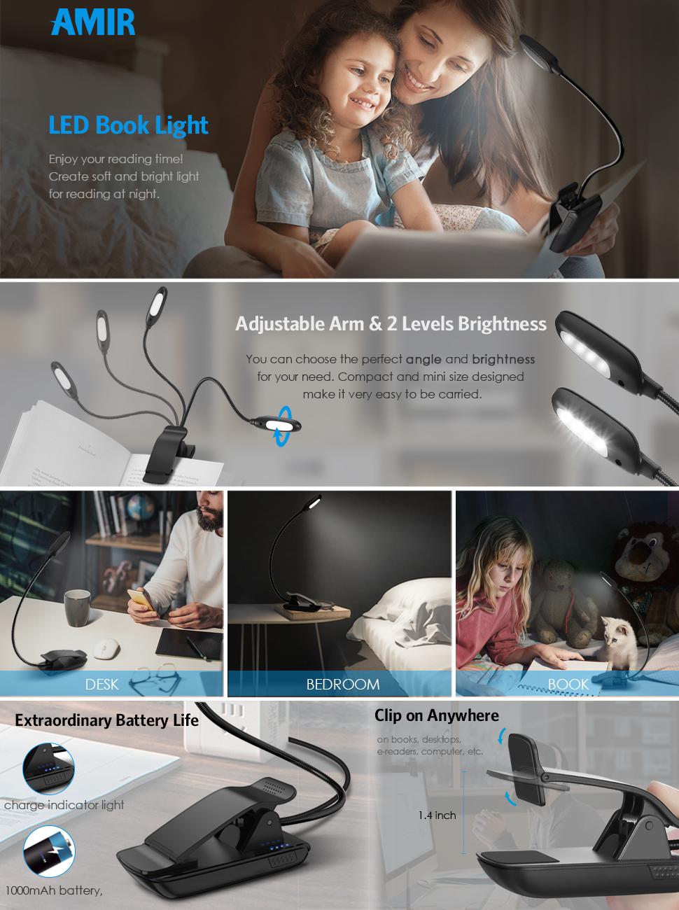 Adjustable Clip Mini Portable LED Book Reading Light Flexible Novelty Lamps K3S0