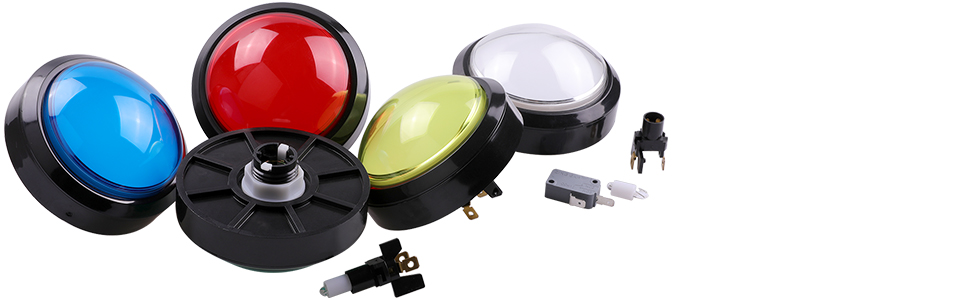 Popn Music DIY Projects /& Mame DIY Projects Red Color Pop/'n Music DIY Projects /& Mame DIY Projects Red Color 1X-100#-BUT-RED Easyget 5v 100mm Dome Shaped Jumbo LED Illuminated Self-resetting Push Button Switch for Arcade Game Projects