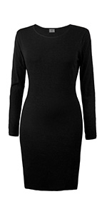 iLoveSIA Women's Ribbed Sleeve Knee Length Stretch Casual Warm Bodycon Dress-Fleece Lining