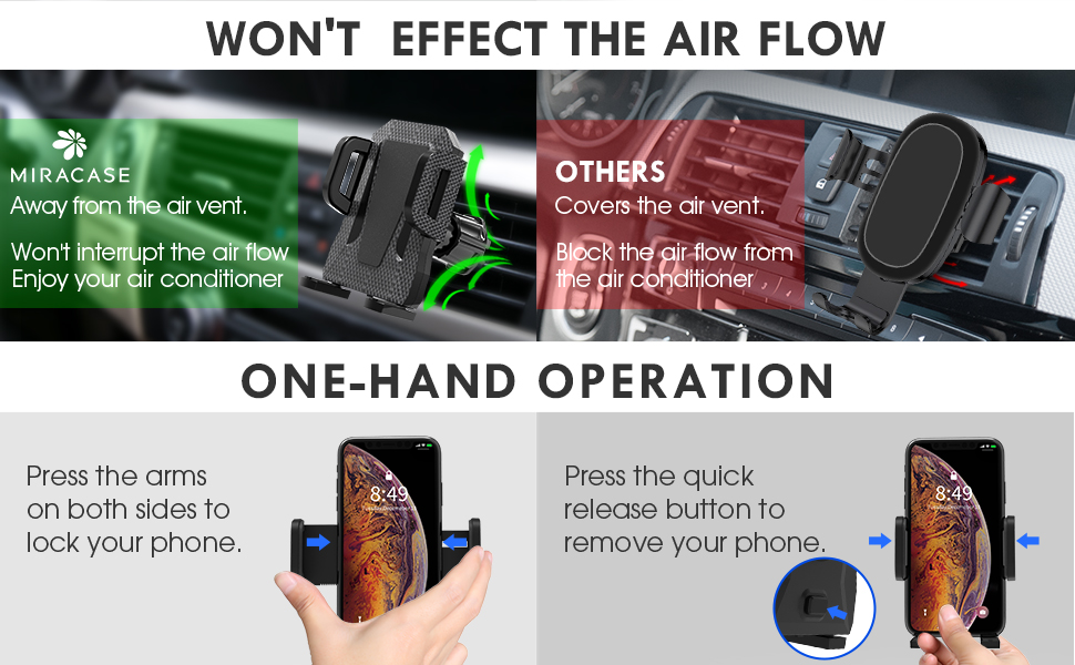 one hand operation won't effect the air flow