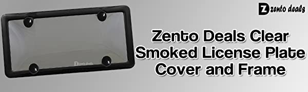 Zento Deals Clear Smoked License Plate Cover and Frame-License Plate Cover Clear Smoked Black