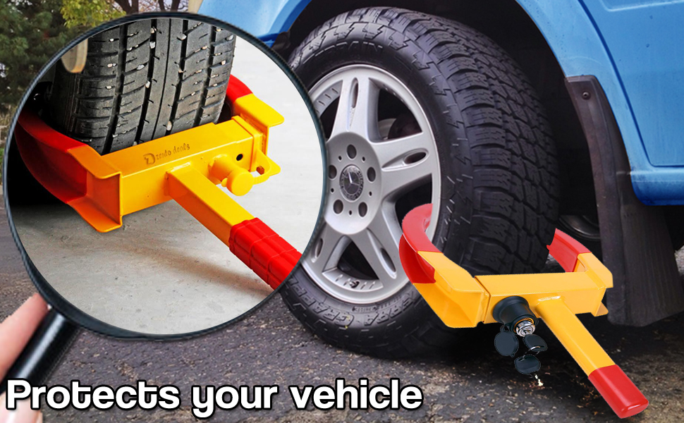 Zento Deals Security Tire Clamp -Heavy Duty Anti-Affordable Theft Vehicle Wheel Lock For Car Trailer