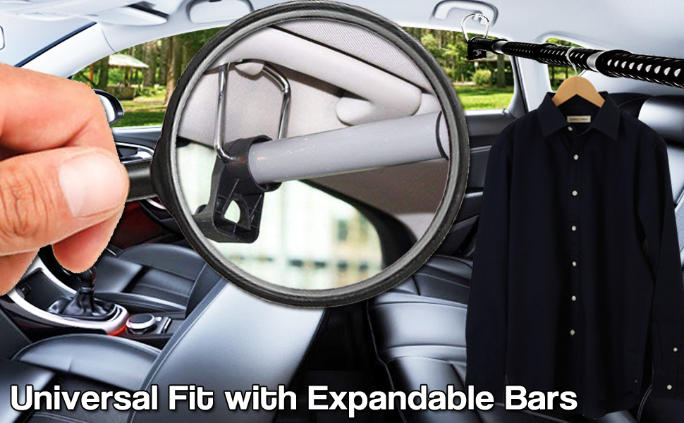 Zento Deals Heavy Duty Expandable Clothes Bar Car Hanger Rod-Strong Metal and Rubber Grips and Rings