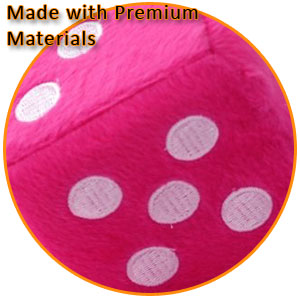 Zento Deals Pair of 3 inch Square Pink Hanging Fuzzy Dice with White Dots;Pink Hanging Fuzzy Dice