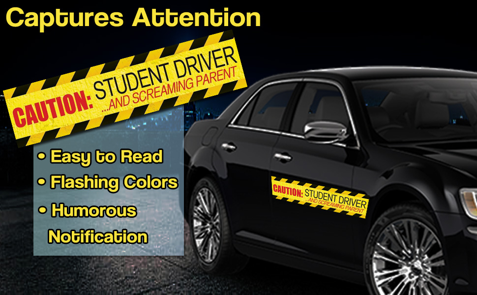 Zento Deals Caution Student Driver and Screaming Parent Car Magnet Funny New Driver Magnet 12 X 3 3 Pack ST10