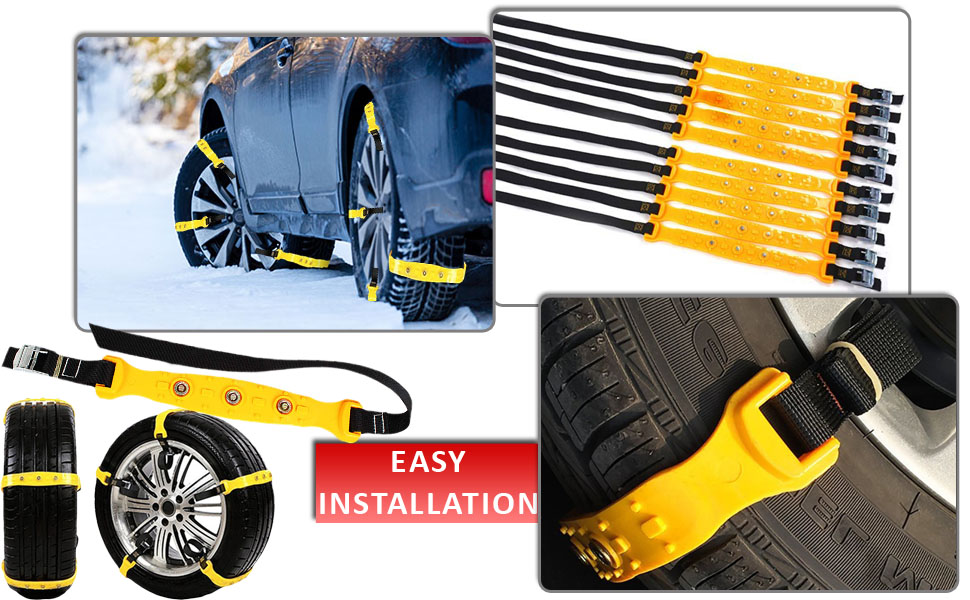 Zento Deals Car Snow Chains 10 Pieces Premium Strong Quality Durable All Season Emergency Anti-