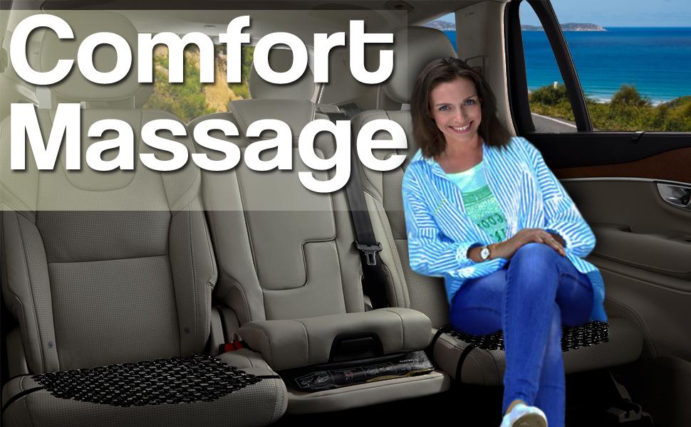 Zento Deals Double Strung Wooden Beaded Comfort Massaging Seat Cover-2Pack Black Premium Quality