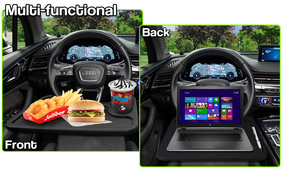 Zento Deals Car Steering Wheel Food/Laptop Tray Convenient Stand Table/Desk Car Multi-purpose Black