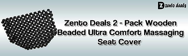 Zento Deals Double Strung Wooden Beaded Comfort Massaging Seat Cover-2 Pack Black PremiumQuality