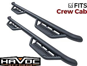 Havoc Offroad HPG-001103 HS2 Black Hoop Nerf Bar Truck Steps (Fits Only  2014-2018 Chevy Silverado GMC Sierra 1500 Crew Cab)