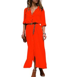 12a18c0438b HOTAPEI Womens Button Down Collar Roll up Sleeve Casual Long Maxi ...