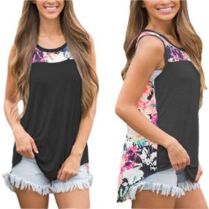 934d7a04560 Amazon.com  HOTAPEI Women s Summer Sleeveless Floral Print Tank Top ...