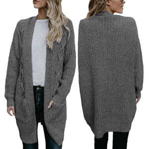 00a9b854b8 HOTAPEI Women s Oversized Loose Open Front Long Cable Knit Weave ...