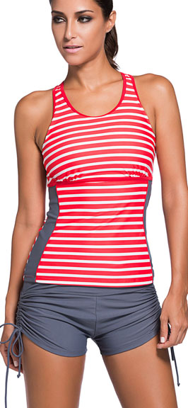 c51a5ef94a318 HOTAPEI Women's Racerback Tankini Set Boyshort Two Piece Swimsuit at ...