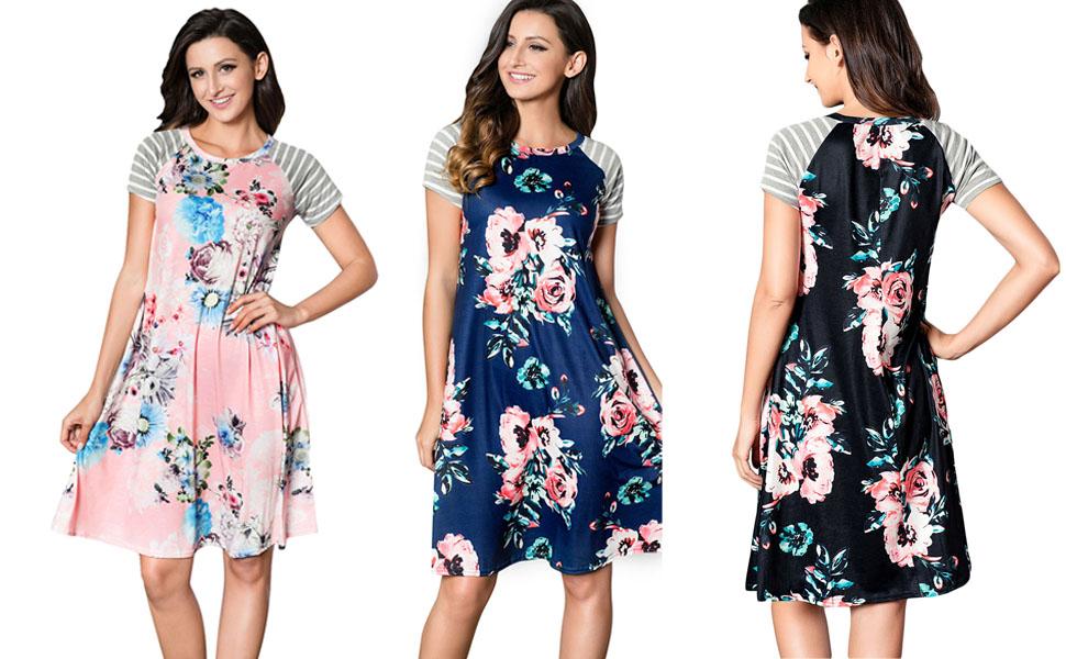 6e7f9c040e HOTAPEI Women s Floral Print Casual Short Sleeve A-line Loose T-shirt  Dresses Knee Length