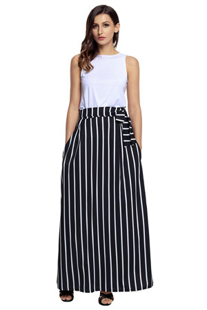 HOTAPEI Women's Full Length Elastic Waisted Maxi Skirt Vertical ...