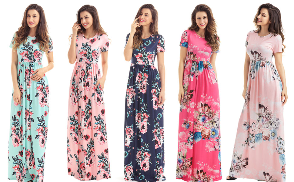 HOTAPEI Women s Floral Print Long Dress Short Sleeve Empire Flower Maxi  Dresses c0f9750c6