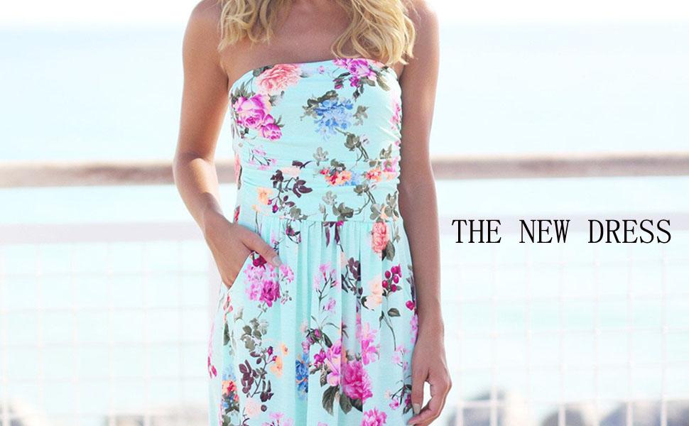 c1e5d69ad2d HOTAPEI Women's Strapless Vintage Floral Print Party Maxi Dress