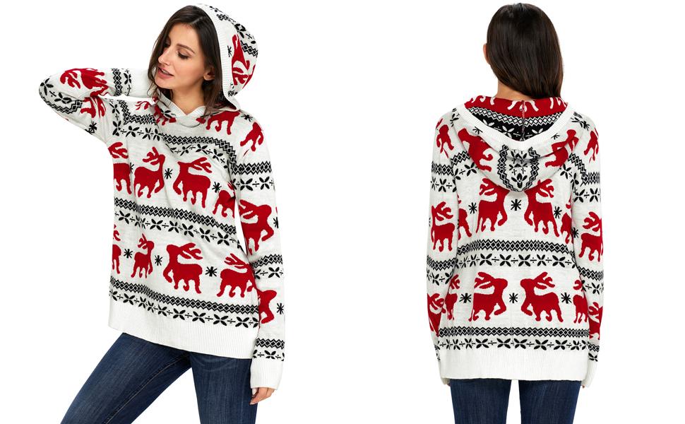 HOTAPEI Women's Ugly Christmas Reindeer Snowflakes Oversized ...