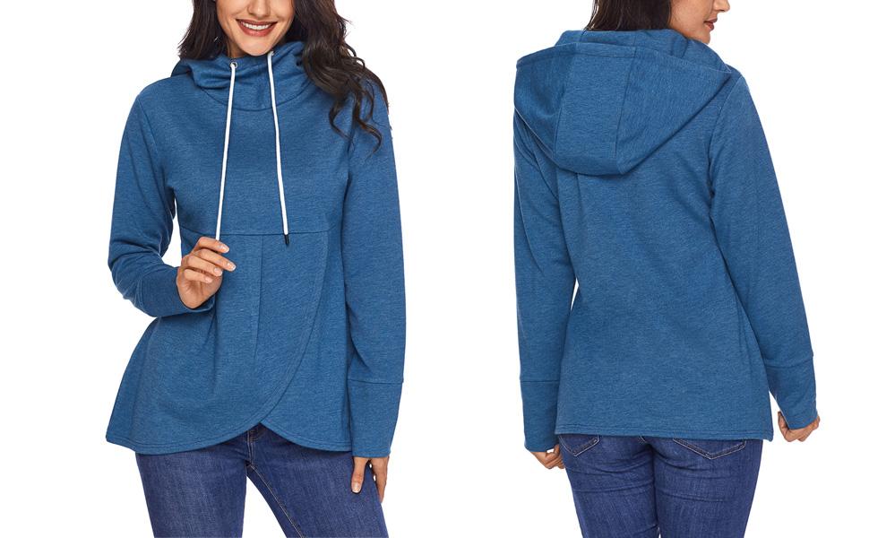 043c053d HOTAPEI Women Long Sleeve Hooded Asymmetric Hem Wrap Hoodie Sweatshirt  Outwear Tops Blouse