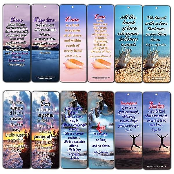 Amazoncom Creanoso Love Quotes Bookmarks 60 Pack Daily