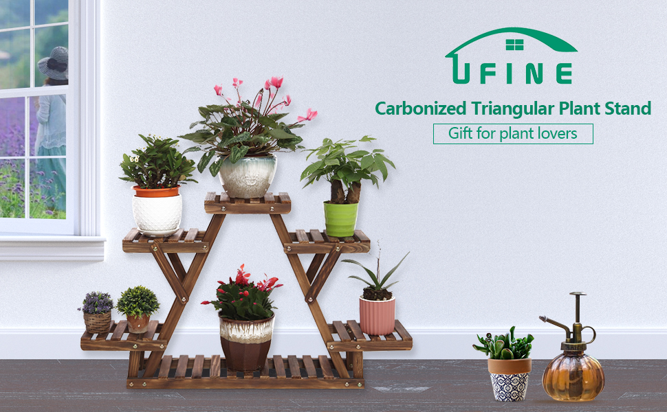 Amazon Com Ufine Wood Plant Stand Triangular Plant Shelf Multi Tier Flower Display Holder Storage Rack 6 Pots For Indoor Outdoor Living Room Balcony Patio Garden Outdoor