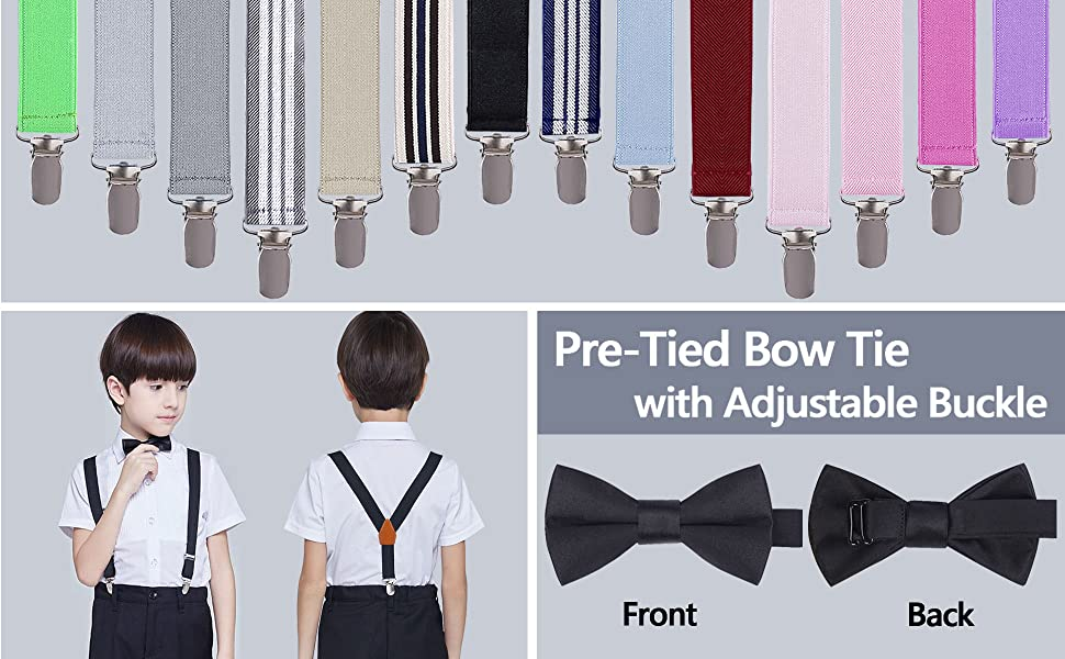 BODY STRENTH Kids Leather Suspenders with Bear Clips Adjustable Y Back